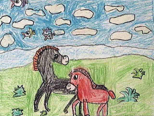 马-蜡笔画图集10