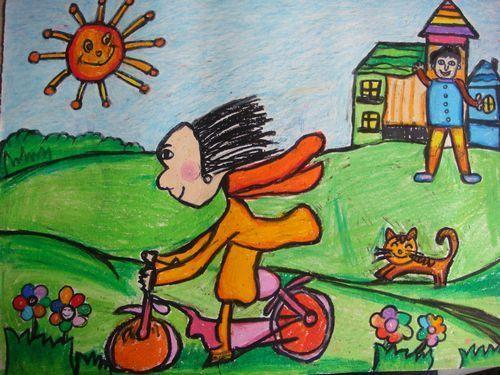 骑车-蜡笔画图集