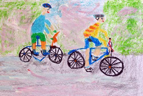 骑车-蜡笔画图集2