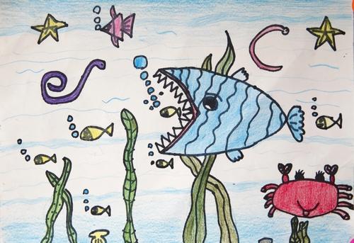 鱼-蜡笔画图集6