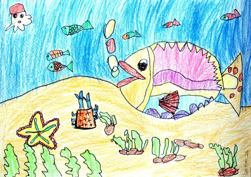 鱼-蜡笔画图集7