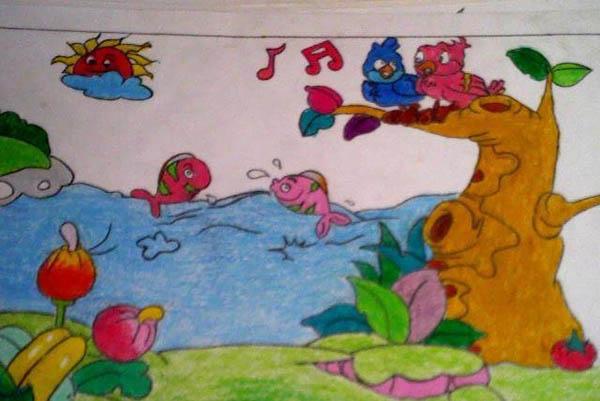 鱼-蜡笔画图集8