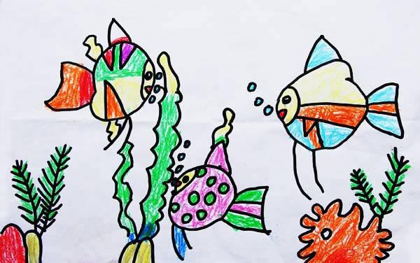 鱼-蜡笔画图集9