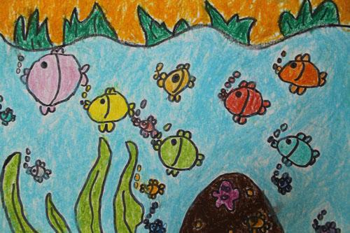 鱼-蜡笔画图集10