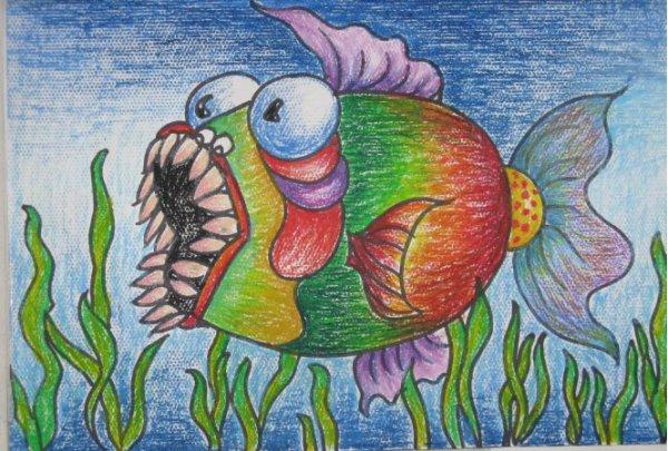 鱼-蜡笔画图集11