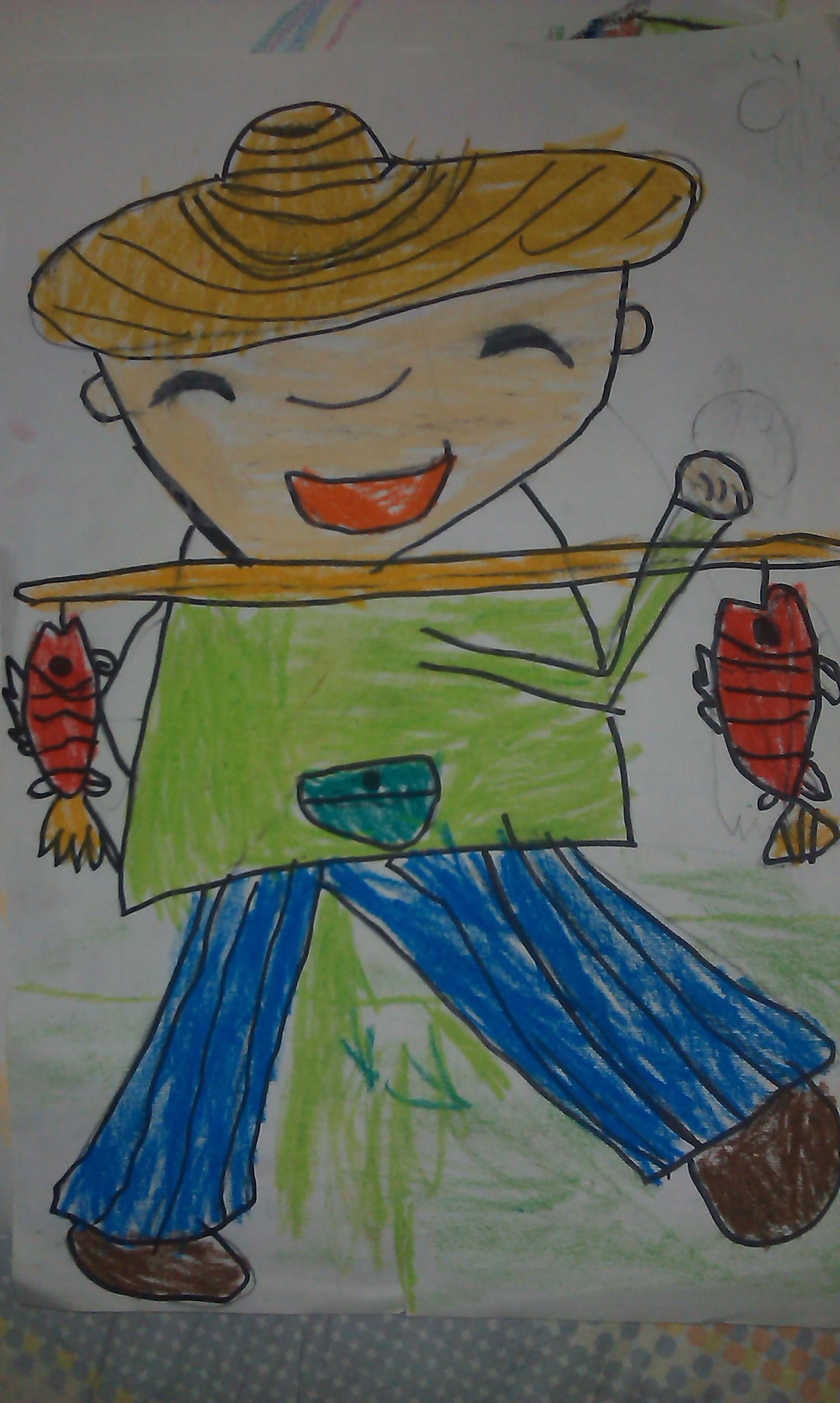 鱼-蜡笔画图集13