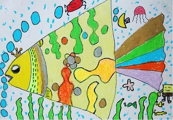 鱼-蜡笔画图集14