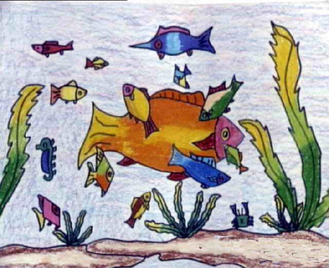 鱼-蜡笔画图集15
