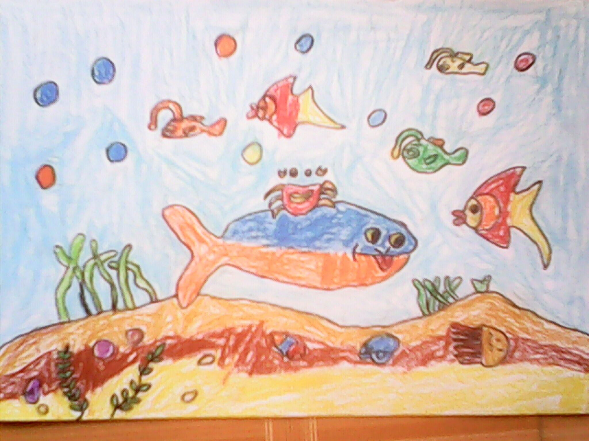 鱼-蜡笔画图集17