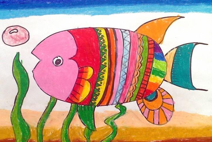 鱼-蜡笔画图集18