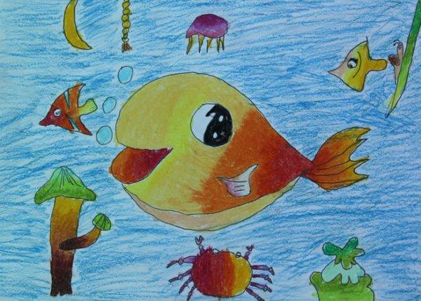鱼-蜡笔画图集19