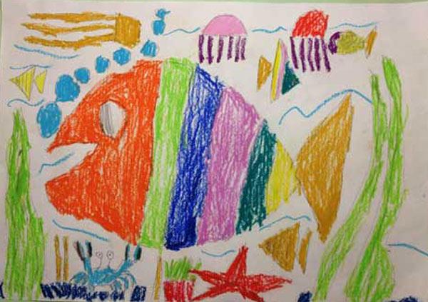 鱼-蜡笔画图集22