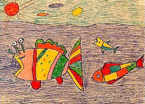 鱼-蜡笔画图集24