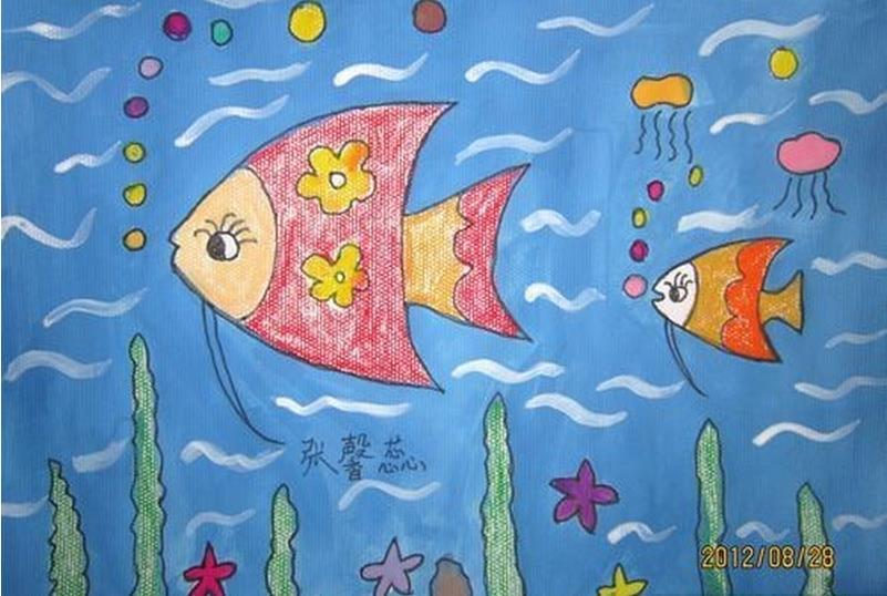 鱼-蜡笔画图集25