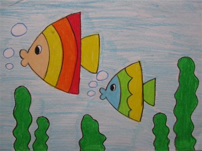 鱼-蜡笔画图集28