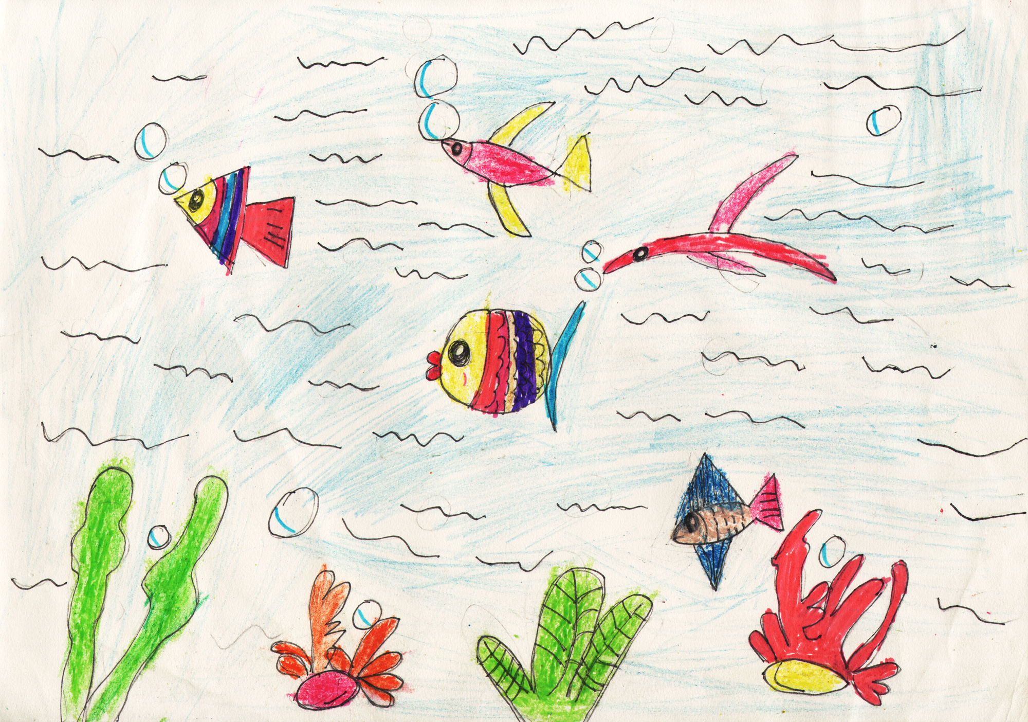鱼-蜡笔画图集29