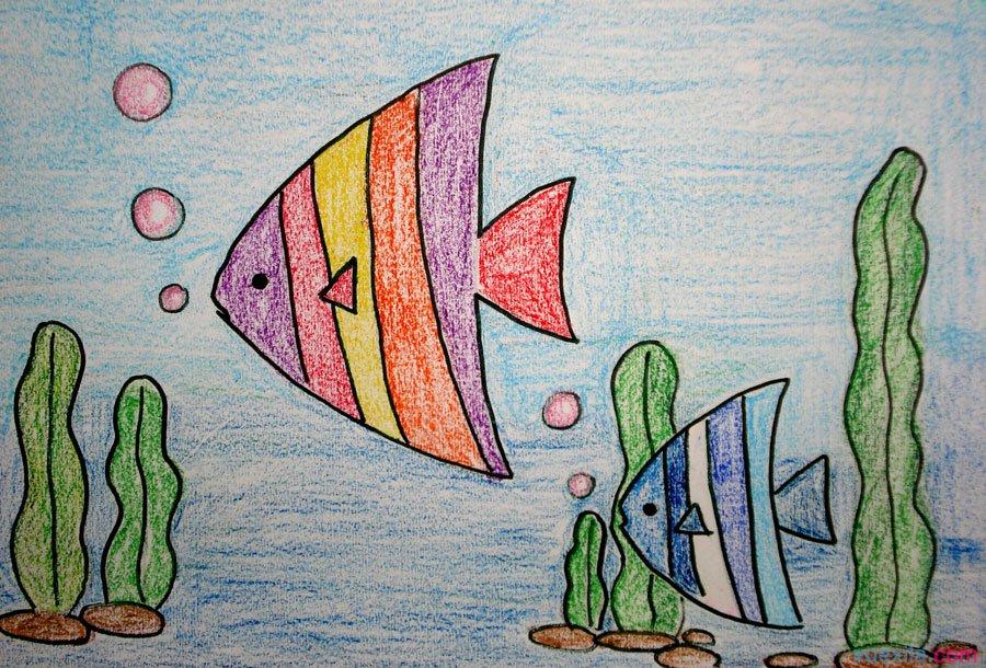 鱼-蜡笔画图集30