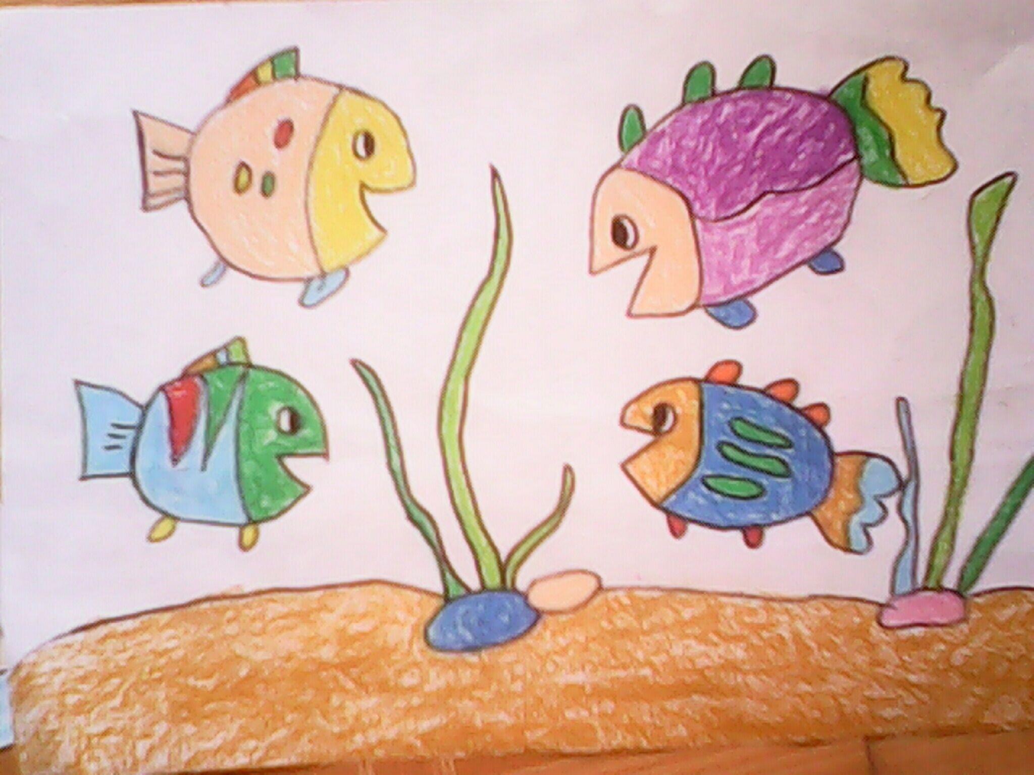 鱼-蜡笔画图集34