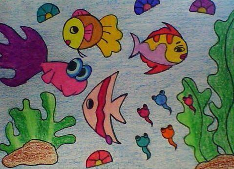 鱼-蜡笔画图集35