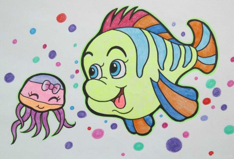 鱼-蜡笔画图集39