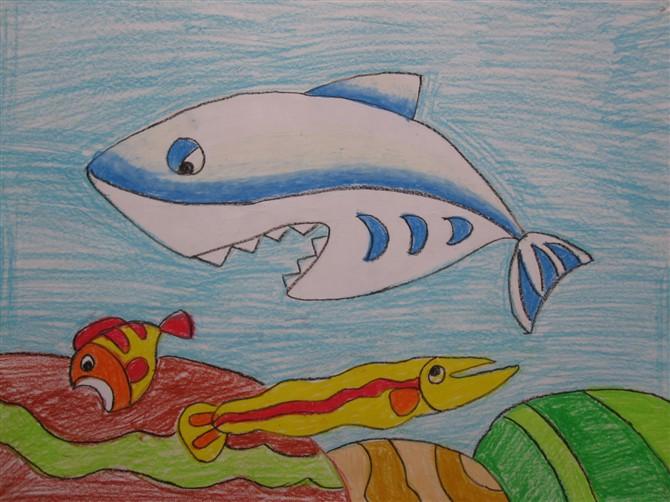 鲨鱼-蜡笔画图集