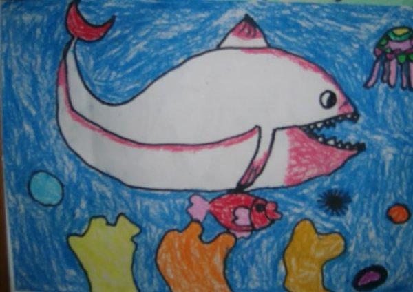 鲨鱼-蜡笔画图集2