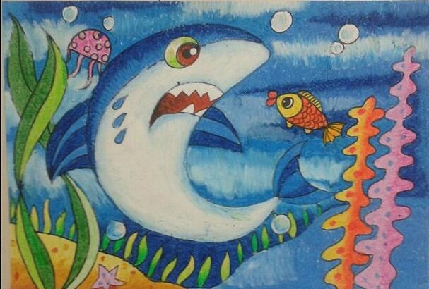 鲨鱼-蜡笔画图集4