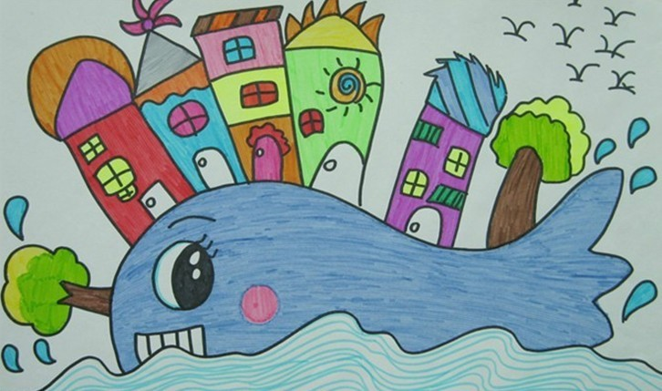 鲸鱼-蜡笔画图集2