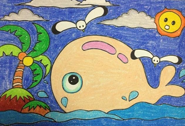 鲸鱼-蜡笔画图集3