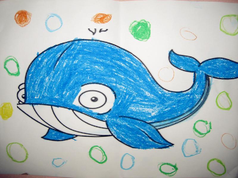 鲸鱼-蜡笔画图集4
