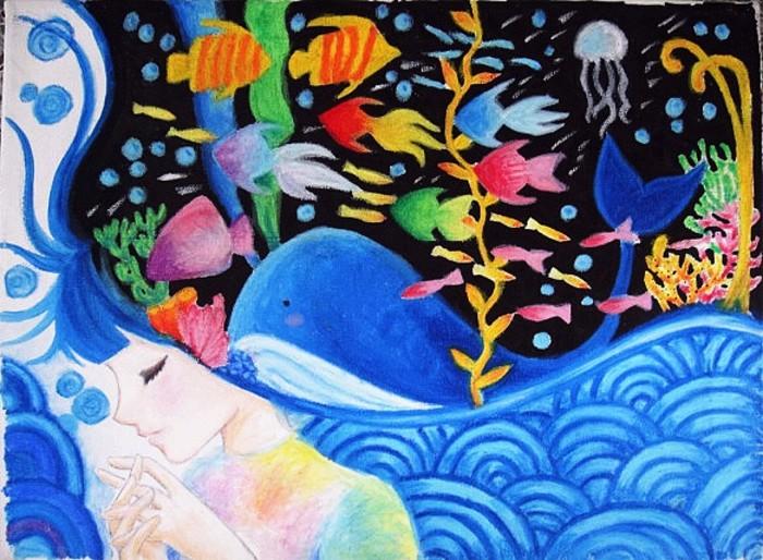 鲸鱼-蜡笔画图集5