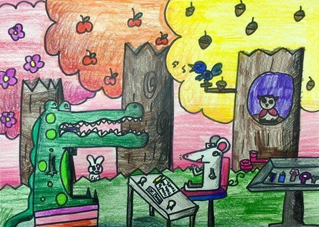 鳄鱼-蜡笔画图集