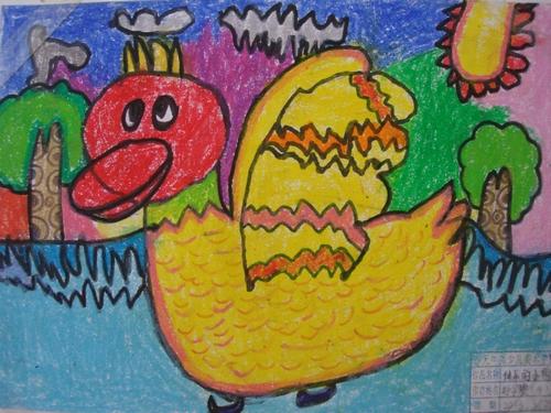 鸭子-蜡笔画图集