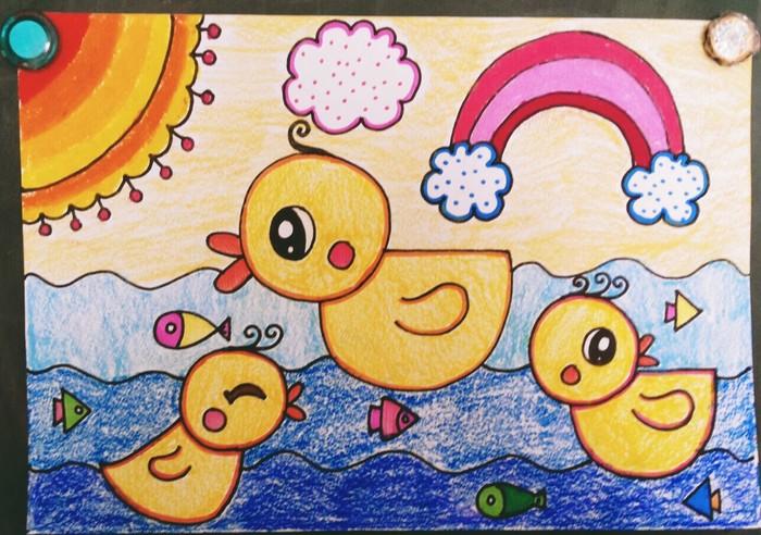 鸭子-蜡笔画图集3