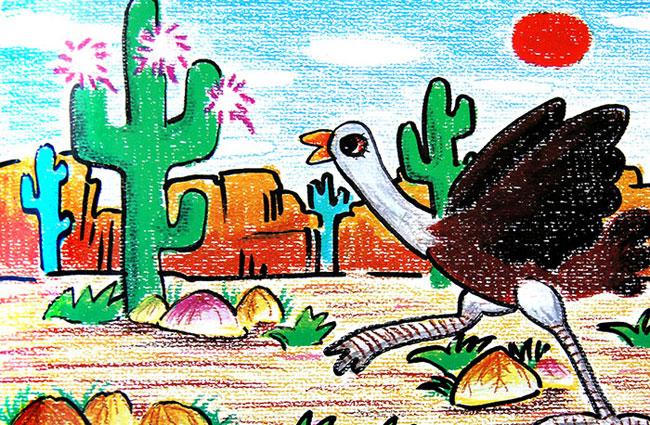 鸵鸟-蜡笔画图集1