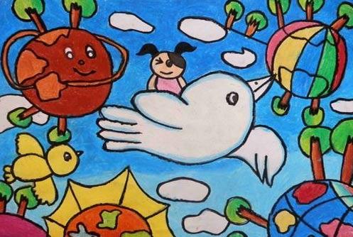 鸽子-蜡笔画图集