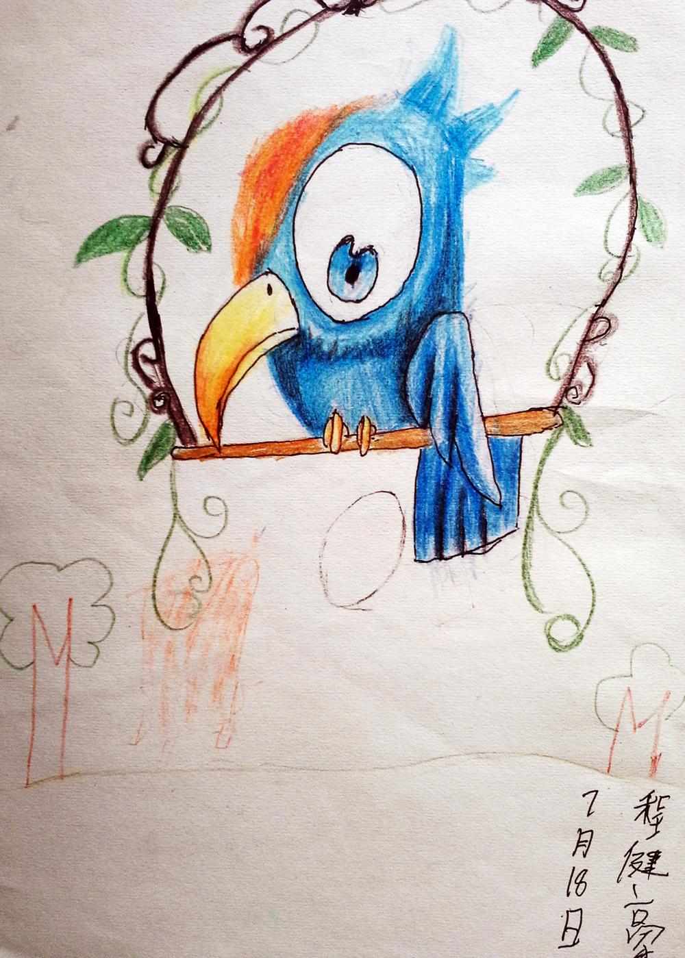 鹦鹉蜡笔画图集2