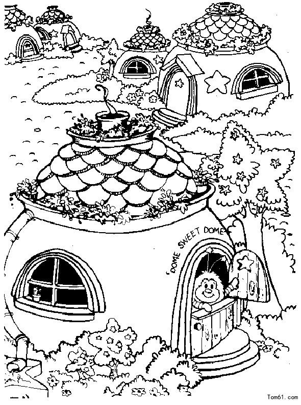 房子简笔画城堡涂色