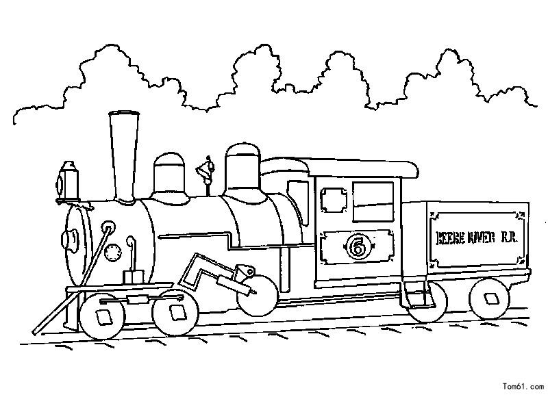 火车涂色图片_简笔画图片
