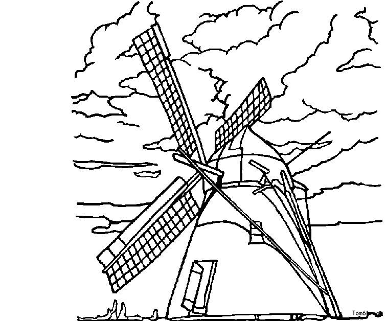 风车涂色-简笔画图片-中国儿童资源网