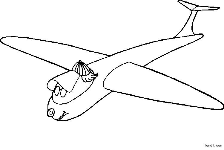 飞机涂色-简笔画图片-中国儿童资源网