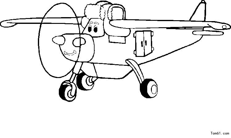 飞机涂色图片_简笔画图片