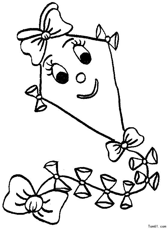 Line Drawing Kite : 风筝图片 简笔画图片 少儿图库 中国儿童资源网
