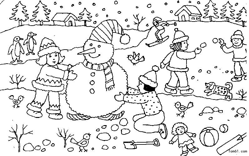 Kleurplaten Kerst Sneeuwpop 雪人2图片 简笔画图片 少儿图库 中国儿童资源网
