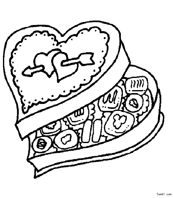 valentine chocolate coloring pages - photo#8