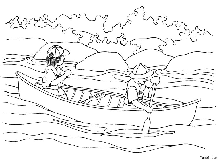 划船图片_简笔画图片_少儿图库