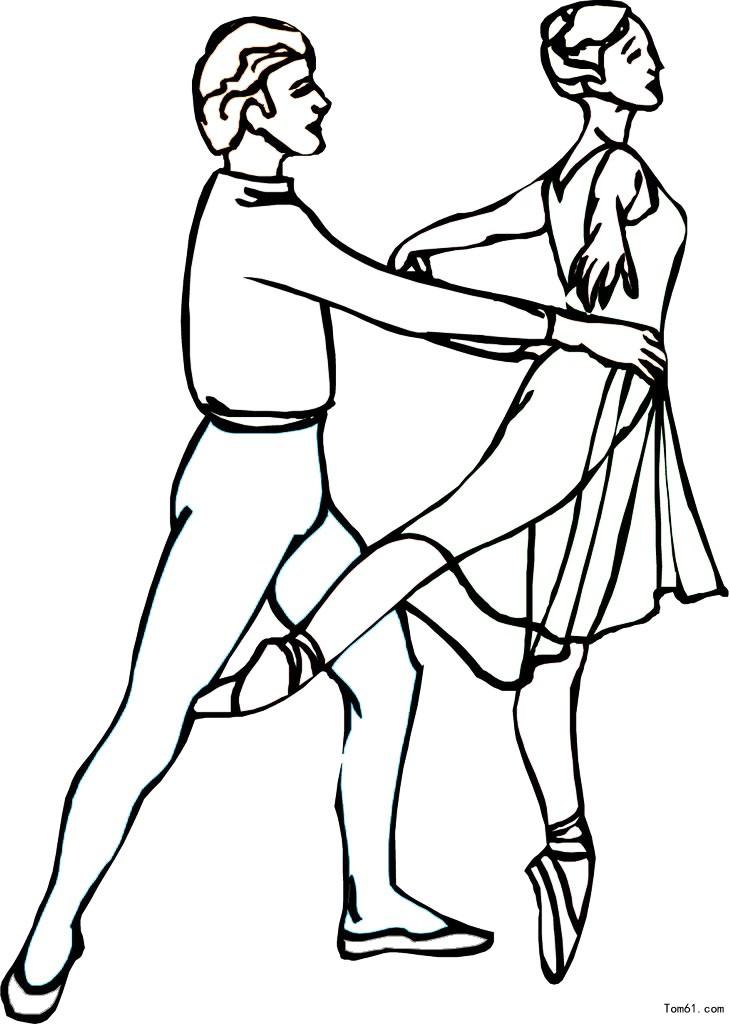 少儿舞蹈简笔画; 跳舞(铅笔画)简笔画——双人舞; 跳舞简笔画--双人舞