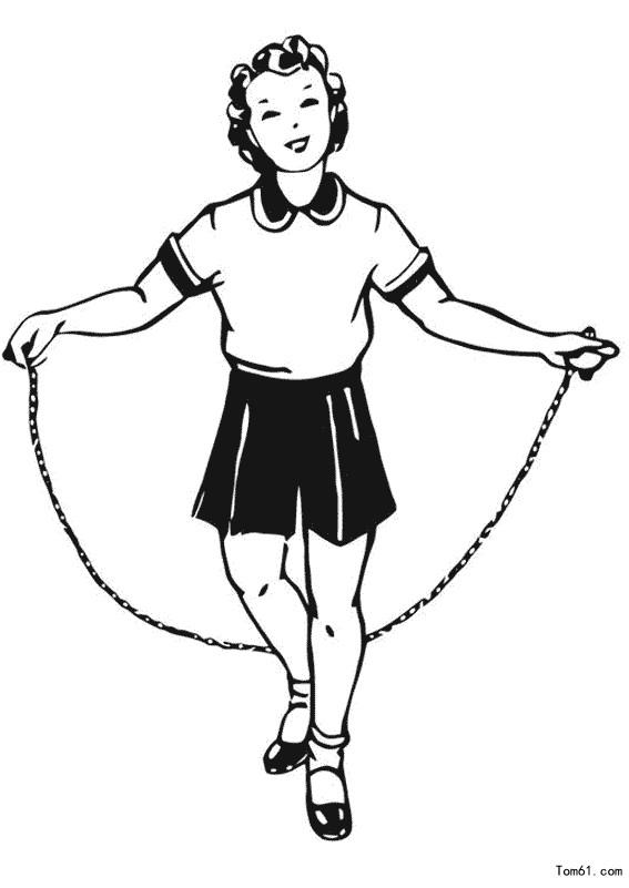 可爱小人物跳绳图