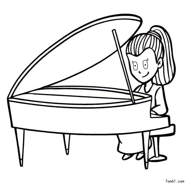 弹钢琴女孩手绘