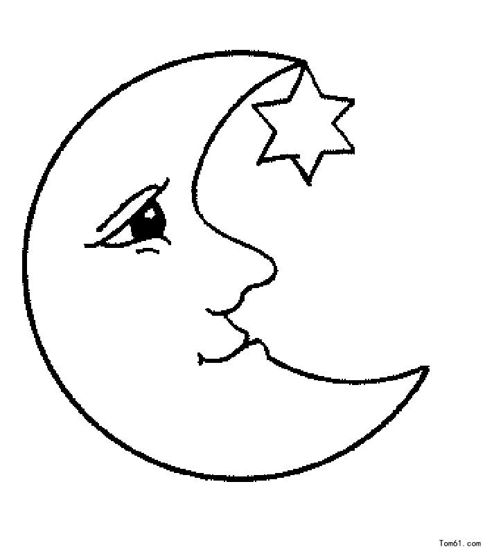 月亮简笔画图片大全 房子